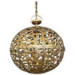 Large Pierced Filigree Brass Japanese Asian Pendant Chandelier Light