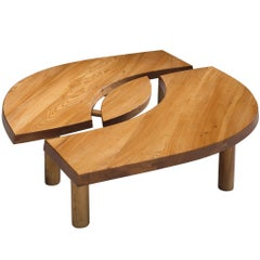 Large Coffee Table 'L'oeuil' in Solid Elm