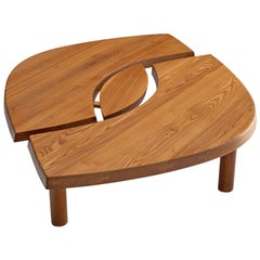 Large Pierre Chapo Coffee Table 'L'oeuil' in Solid Elm T22C