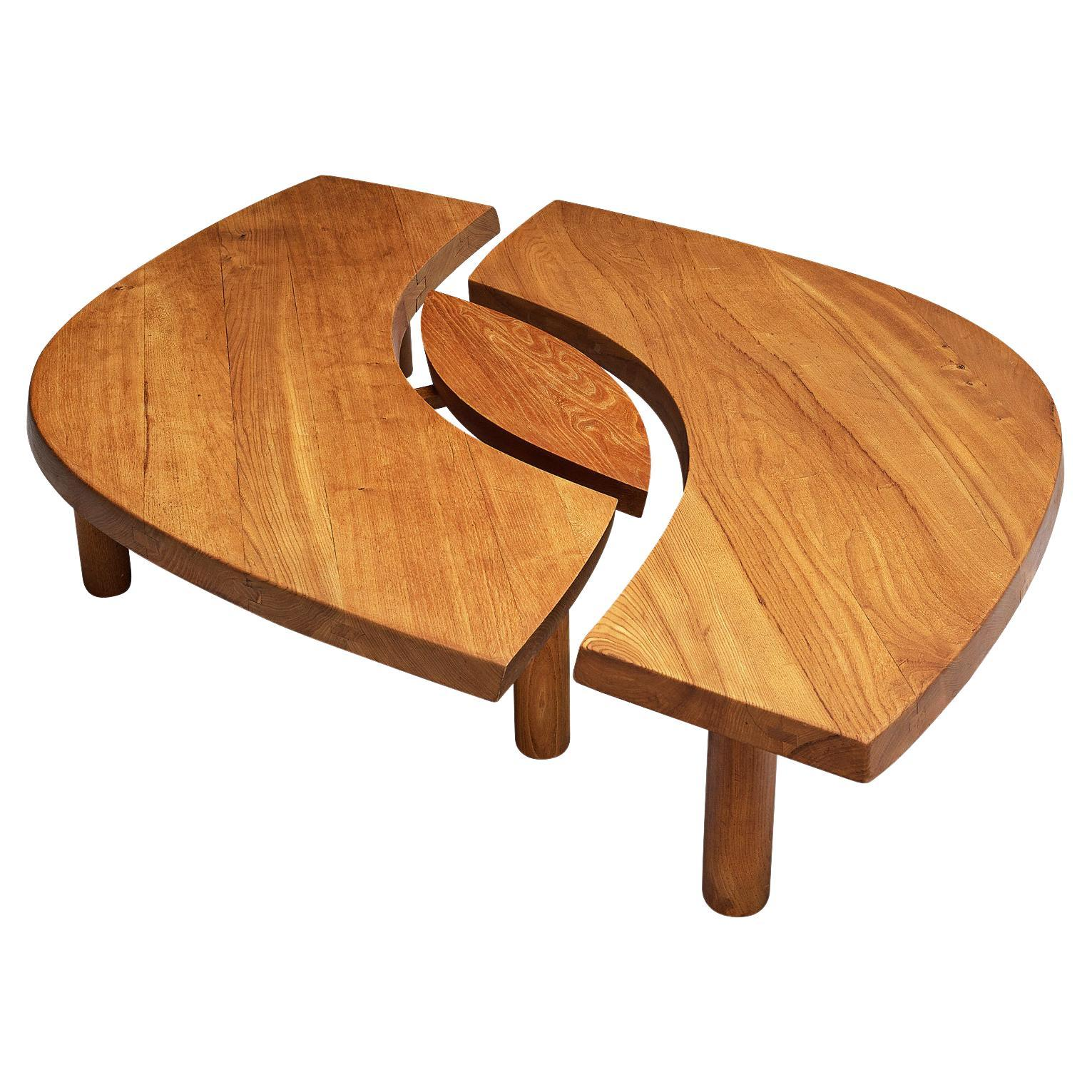Large Pierre Chapo Coffee Table T22C in Solid Elm