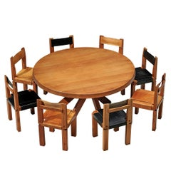 Large Pierre Chapo T21E 'Sfax' Dining Table in Solid Elm