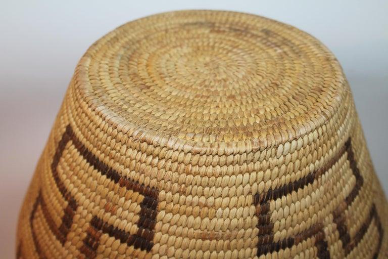 American Large Pima Geometric Indian Basket For Sale