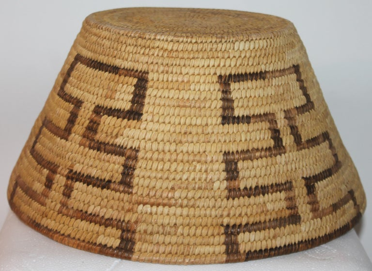 Hand-Woven Large Pima Geometric Indian Basket For Sale