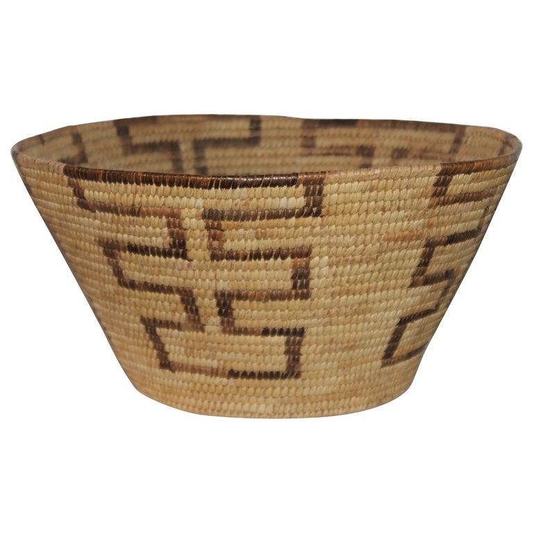 Large Pima Geometric Indian Basket For Sale