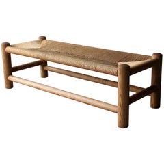 Large Pine and Rush Bench by Wim Den Boon