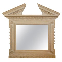 Large Pine Georgian Antique Mirror with Detailed Moldings Whitewashed Finish