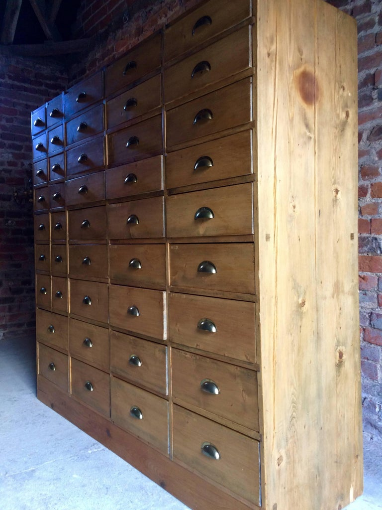 Large Pine Haberdashery Chest Of Drawers Industrial