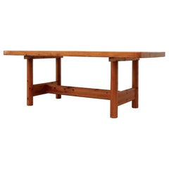 Large Pine Rainer Daumiller Dining Table with Trestle Base