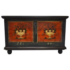 Large Pine Trunk or Blanket Chest in Original Decorative Paint