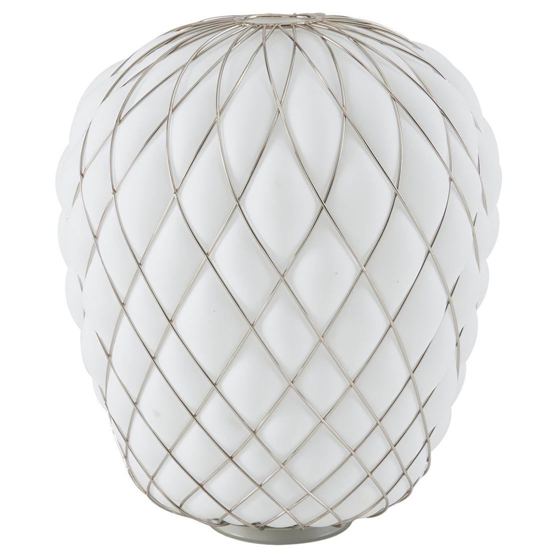Large 'Pinecone' Table Lamp in Opaline Glass & Chrome for Fontana Arte
