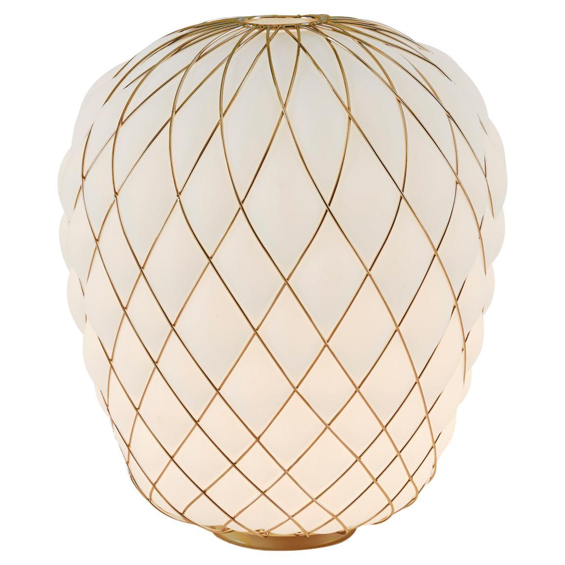 Large 'Pinecone' Table Lamp in Opaline Glass & Gold Metal for Fontana Arte