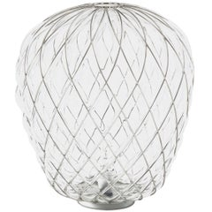 Large 'Pinecone' Table Lamp in Translucent Glass & Chrome for Fontana Arte
