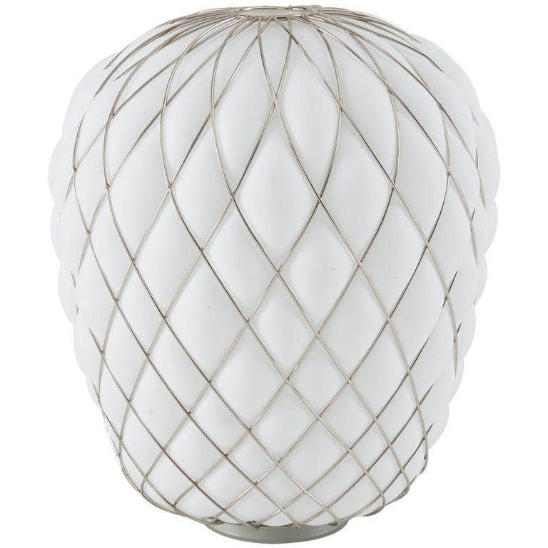 Large 'Pinecone' Table Lamp in Translucent Glass & Gold Metal for Fontana Arte For Sale 3