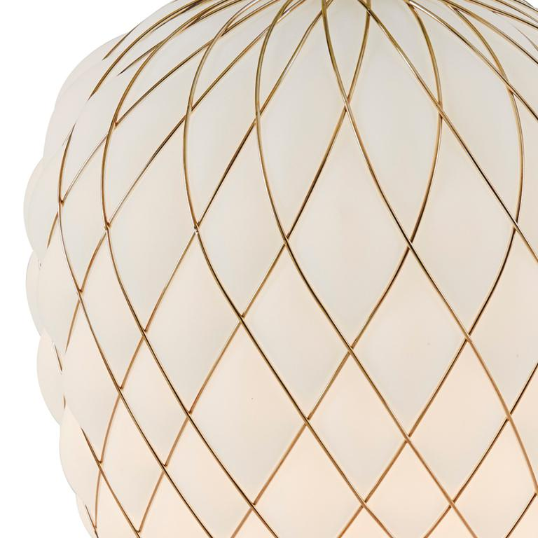 Large 'Pinecone' Table Lamp in Translucent Glass & Gold Metal for Fontana Arte For Sale 5