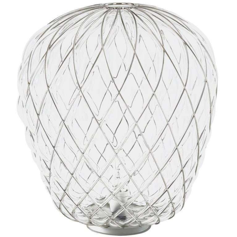 Large 'Pinecone' Table Lamp in Translucent Glass & Gold Metal for Fontana Arte For Sale 7