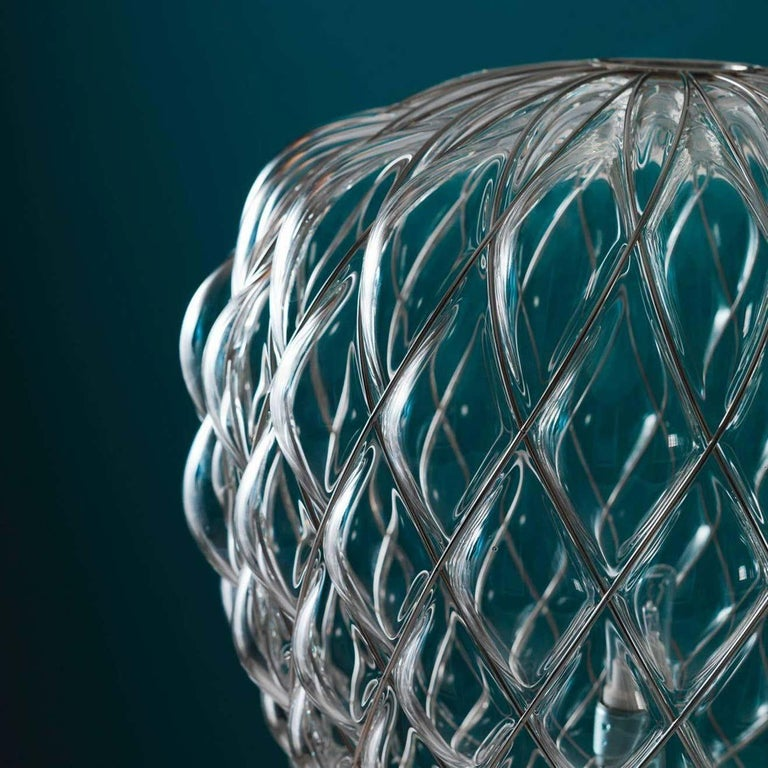 Large 'Pinecone' Table Lamp in Translucent Glass & Gold Metal for Fontana Arte For Sale 10
