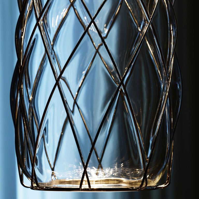 Large 'Pinecone' Table Lamp in Translucent Glass & Gold Metal for Fontana Arte For Sale 11