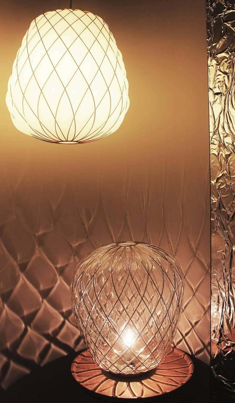 Large 'Pinecone' Table Lamp in Translucent Glass & Gold Metal for Fontana Arte For Sale 12