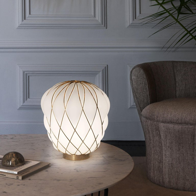 Large 'Pinecone' Table Lamp in Translucent Glass & Gold Metal for Fontana Arte For Sale 1