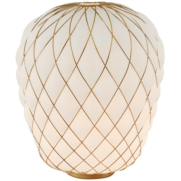 Large 'Pinecone' Table Lamp in Translucent Glass & Gold Metal for Fontana Arte For Sale 2