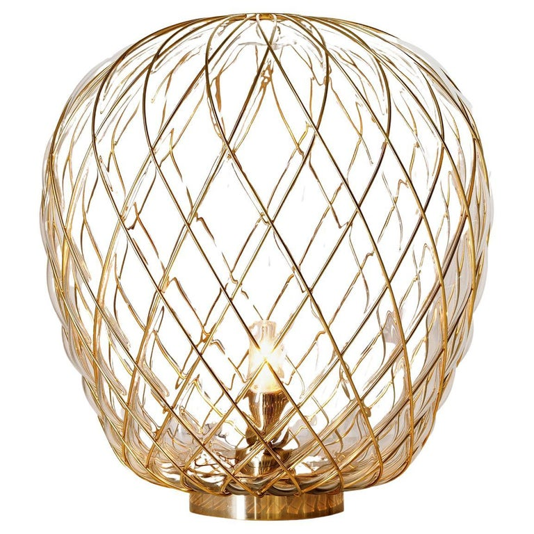 Large 'Pinecone' Table Lamp in Translucent Glass & Gold Metal for Fontana Arte For Sale
