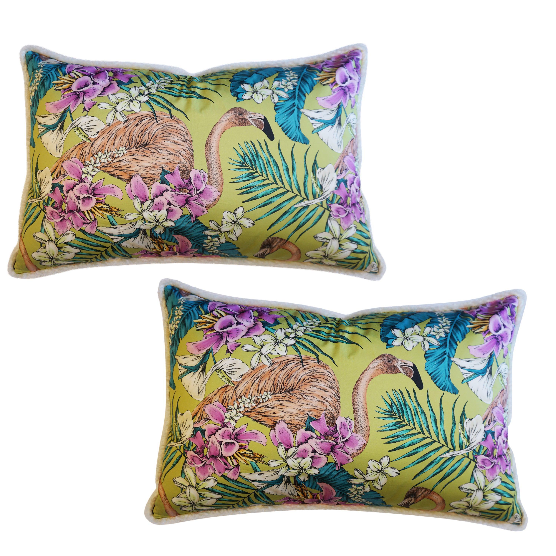 Large Pink Flamingo and Mohair Throw Pillows