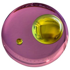 Large Pink Mirror with yellow lens One of a Kind by Christophe Gaignon