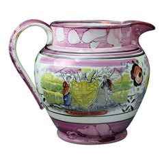 Large Pink Pottery Pitcher Newcastle Pottery, 19th Century