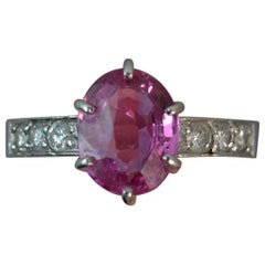 Large Pink Sapphire and Diamond Platinum Ring