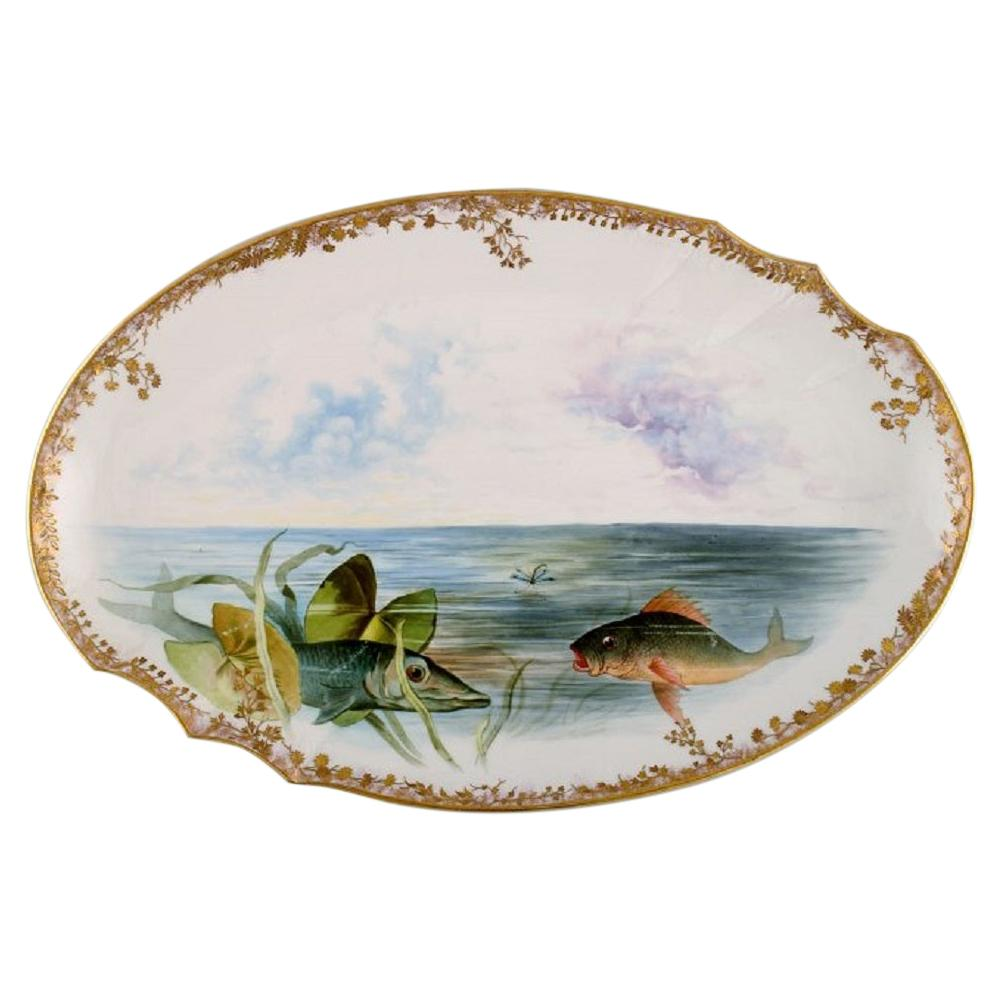 Large Pirkenhammer Serving Dish in Porcelain with Hand-Painted Fish