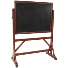 Large Pitch Pine Art Nouveau Blackboard Chalkboard, 1900s