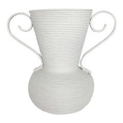 Large Plaster Covered Rattan Vase