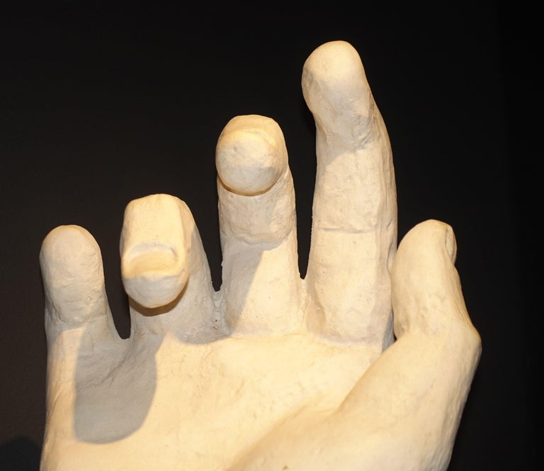 Contemporary French large white plaster hand Often used as artist model.