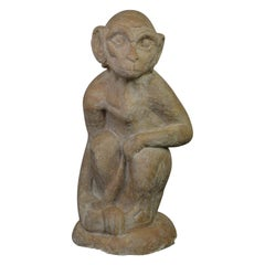 Large Plaster Monkey Sculpture Organic Style