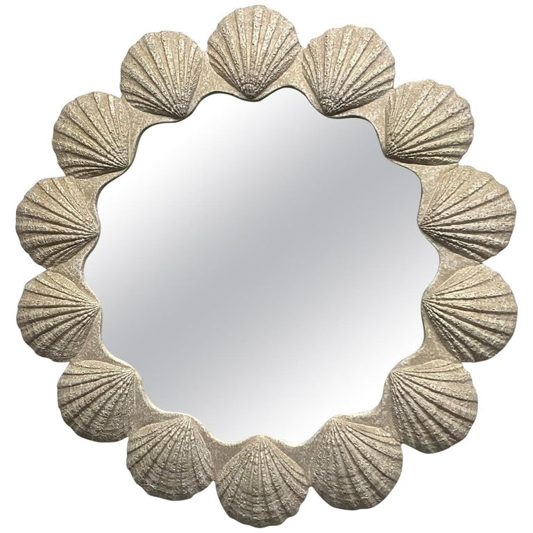 Plaster shell mirror, 1980s, offered by Flavor