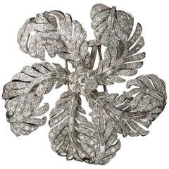 Large Platinum and Diamond Corsage Brooch
