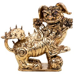 Large Platinum Glaze Terracotta Foo Dog Statue