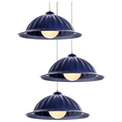 Large Pleated Cobalt Blue Dome