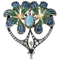 Large Plique-A-Jour Art Nouveau Style Brooch
