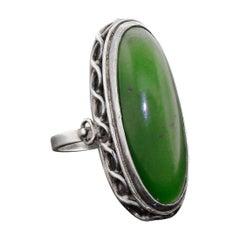 Large Poland 800 Silver Ring Polish Green Nephrite Jade Vintage, 1930s