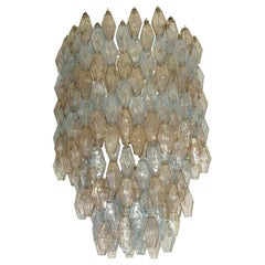 Large Poliedri Clear and Pale Blue Ceiling Light by Carlo Scarpa for Venini