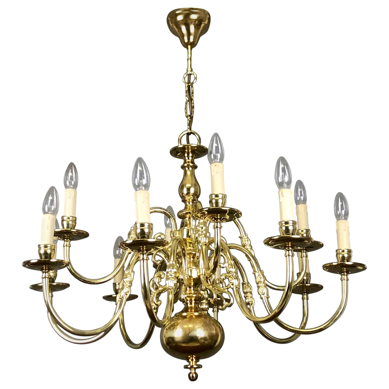 Large Polished Brass Dutch Baroque 12-Light Chandelier