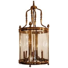 Large Polished Brass European Hall Lantern