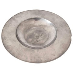 Large Polished Pewter Dish, Dutch, 17th Century