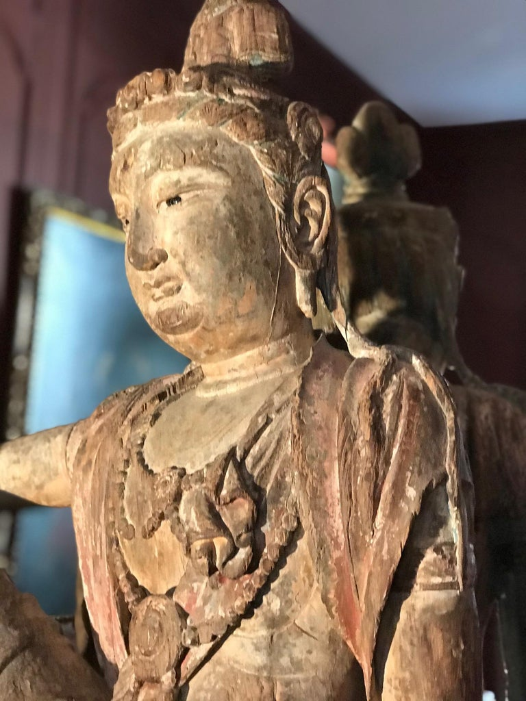 Asian Polychrome Wood Figure of Guanyin Qing Dynasty China 19th Century For Sale