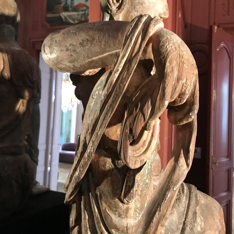 Polychrome Wood Figure of Guanyin Qing Dynasty China 19th Century For Sale 5