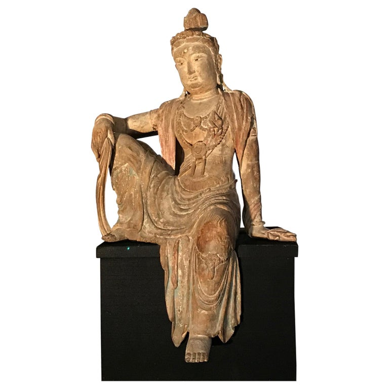 Polychrome Wood Figure of Guanyin Qing Dynasty China 19th Century For Sale