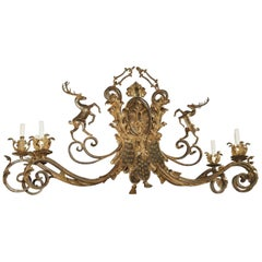 Large Polychrome Wrought Iron Stags Chandelier from France, 1900s