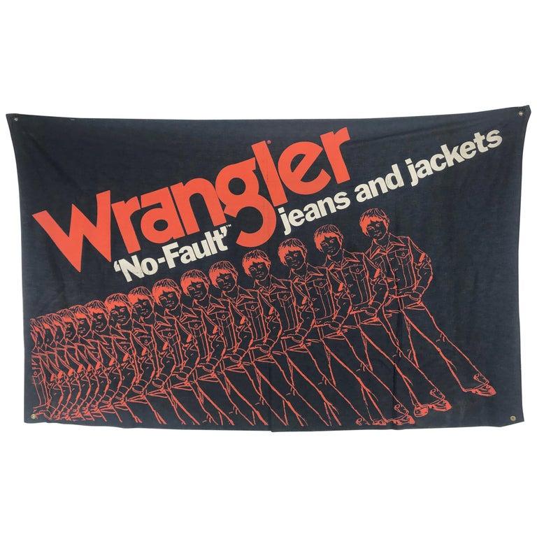 "Large Pop 1970s Wrangler ""No-Fault"" Jeans. Denim Store Display / Banner For Sale"