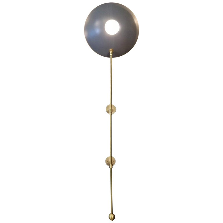 """Large """"POP"""" Wall Sconce in Brass and Gray Enamel by Blueprint Lighting For Sale"""